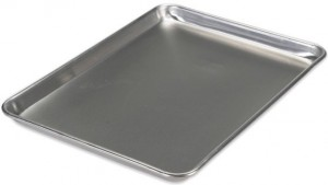 This aluminum sheet pan from Nordic Ware is our recommended baking sheet pan.