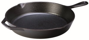 This cast iron skillet from Lodge is our recommended cast iron skillet.