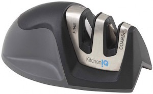 This 2-stage knife sharpener from KitchenIQ is our budget knife sharpener pick.
