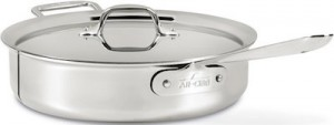 The All Clad stainless steel sauté pan is our premium sauté pan pick.