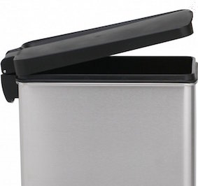 This small trash bin from Simplehuman is our recommended small trash bin.